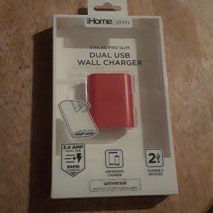 iHome Slim 3.4A AC Pro Slim Dual USB Wall Charger.